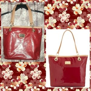 Marc Fisher Pop Star Dark Red Faux Leather Tote